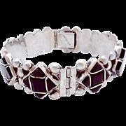 Vintage Del Rio Taxco Mexico Mexican Sterling Silver Black Onyx Bracelet
