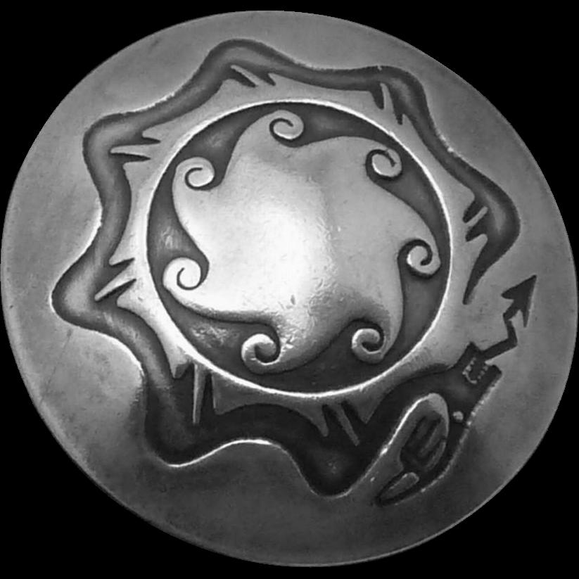 Vintage Zuni Southwestern Sterling Silver Snake Buttons Set 5 Santa Fe