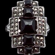 Vintage 1920s Uncas Art Deco Sterling Silver Black Onyx Marcasite Ring