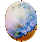 Victorian Gold Filled Hand Painted Blue Floral China Pin Brooch