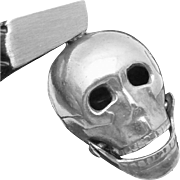 Vintage Sterling Silver Moveable Skull Bones Charm Pendant
