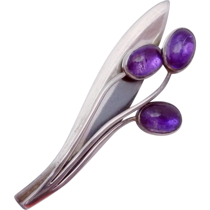 Vintage Sigi Pineda Taxco Mexican Sterling Silver Amethyst Modernist Pin