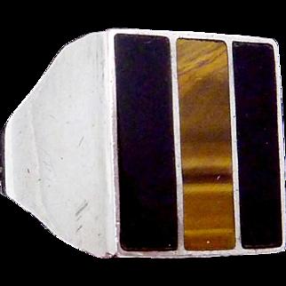 Vintage Taxco Mexican Sterling Silver Black Onyx Tiger Eye Big Biker Ring