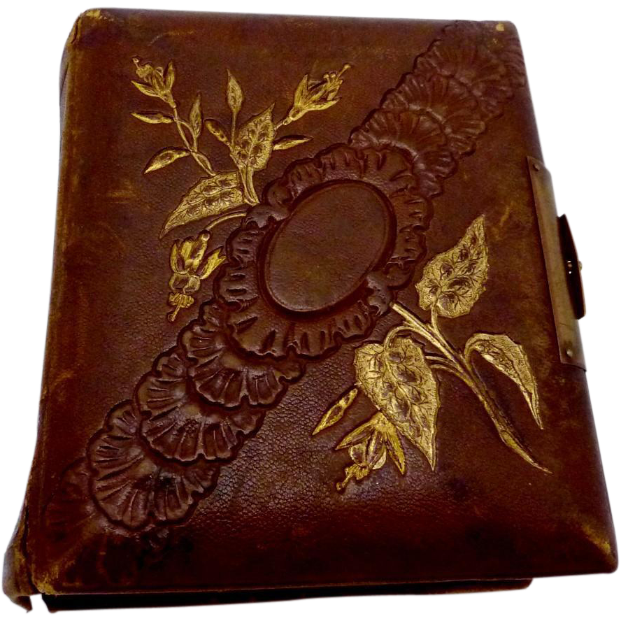 Antique 1860s Tintype CDV Miniature Leather Photograph Album