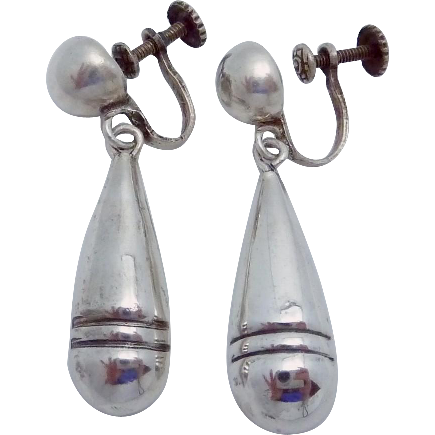 Vintage Taxco Mexico Mexican Sterling Silver Dangle Earrings