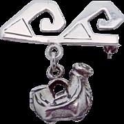 Vintage Laffi Peru Peruvian Sterling Silver Llama Wave Dangling Pin