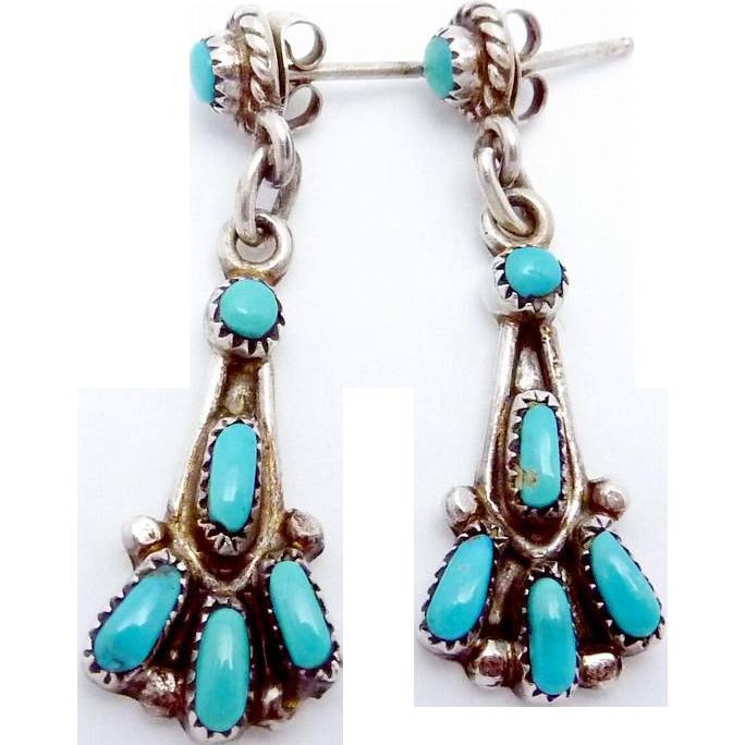Vintage Bill & Lou Zuni Sterling Silver Turquoise Pierced Dangle Earrings