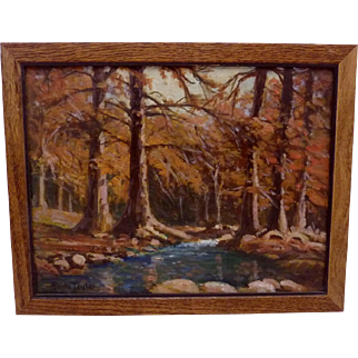 Vintage Rolla Taylor Texas Regionalist Small Oil Painting River Woods