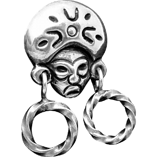 Vintage Lopez Taxco Mexico Mexican Sterling Silver Tiki Native Earrings