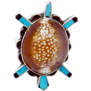 Vintage Bill & Lou Zuni Sterling Silver Turquoise Cowry Shell Turtle Ring