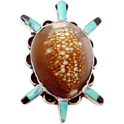 Vintage Bill & Lou Zuni Sterling Silver Turquoise Cowry Shell Turtle Pin