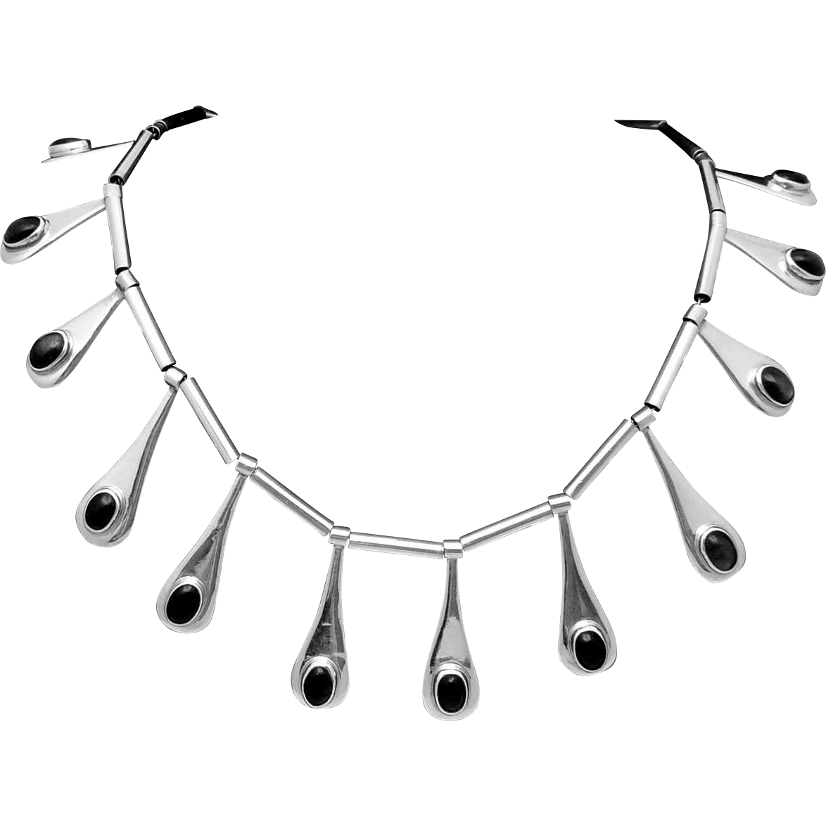Vintage Taxco Mexican Sterling Silver Obsidian Drop Modernist Necklace
