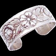 Vintage Kulik Kulikraft Hand Wrought Sterling Silver Floral Cuff Bracelet