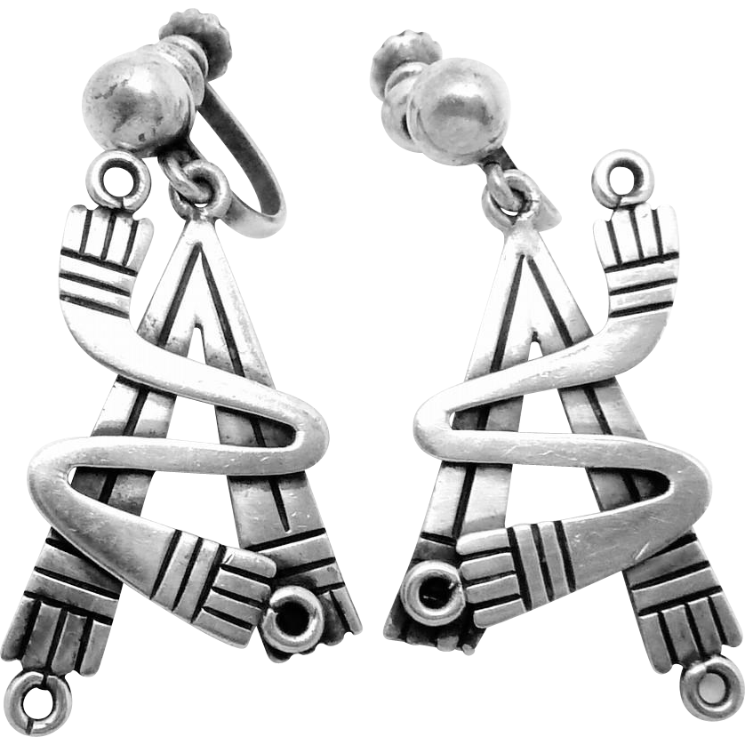 Vintage Pedro Castillo Taxco Mexican Sterling Silver Modernist Earrings