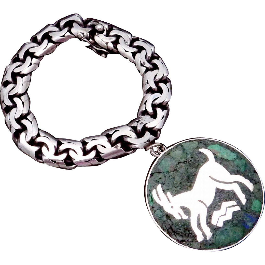 Vintage Taxco Mexican Sterling Silver Stone Aries Capricorn Biker Bracelet