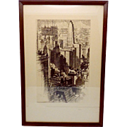 1930s AC Alonzo Webb Etching Lithograph Chicago Tall Buildings