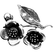 Vintage Serafin Moctezuma Taxco Mexican Sterling Silver Double Flower Pin