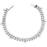 Vintage Castelan Taxco Mexican Sterling Silver Multi Charm Chain Bracelet