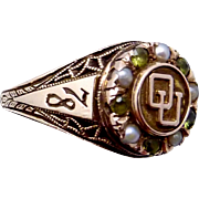Vintage 10K Gold Peridot Pearl University of Oklahoma OU 1978 Class Ring