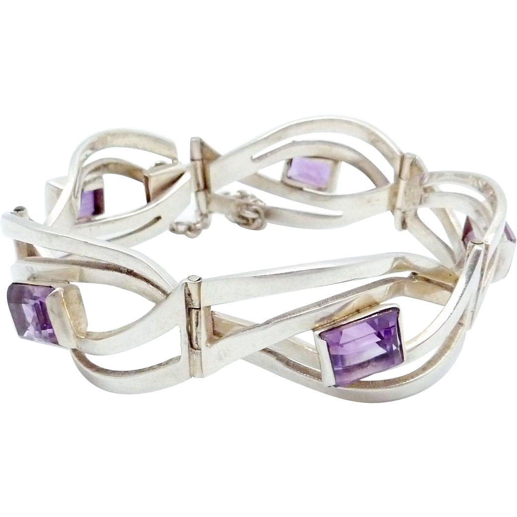 Vintage Miguel Melendez Taxco Mexican Sterling Silver Amethyst Bracelet
