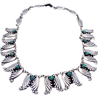 Vintage Taxco Mexican Sterling Silver Turquoise AE in Heart Necklace