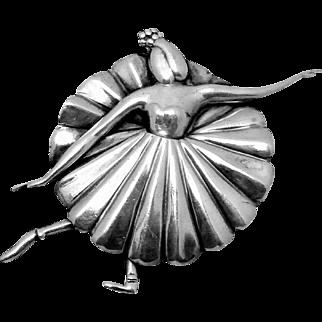 Vintage Margot de Taxco Mexican Sterling Silver Ballerina Dancer Pin
