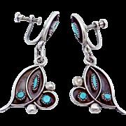 Vintage Zuni Southwest Sterling Silver Turquoise Dangle Earrings