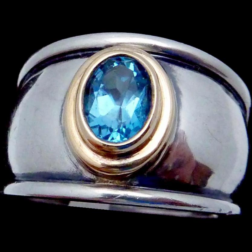 Vintage James Avery 18K Gold Sterling Silver Blue Topaz Christina Ring