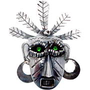 Carmen Beckmann Taxco Mexican Sterling Silver Monster Grotesque Mask Pin