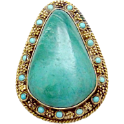 Vintage Chinese Sterling Silver Vermeil Turquoise Pin Pendant