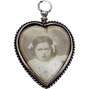 Antique Victorian Sterling Silver Picture Large Heart Fob Charm Pendant
