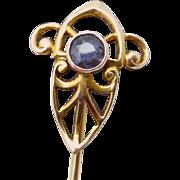 Antique Art Nouveau 14K Gold Tanzanite Stickpin Stick Pin