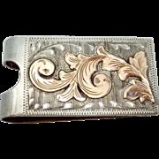 Vintage 10K Gold Mexican Sterling Silver Plafina Western Cowboy Money Clip