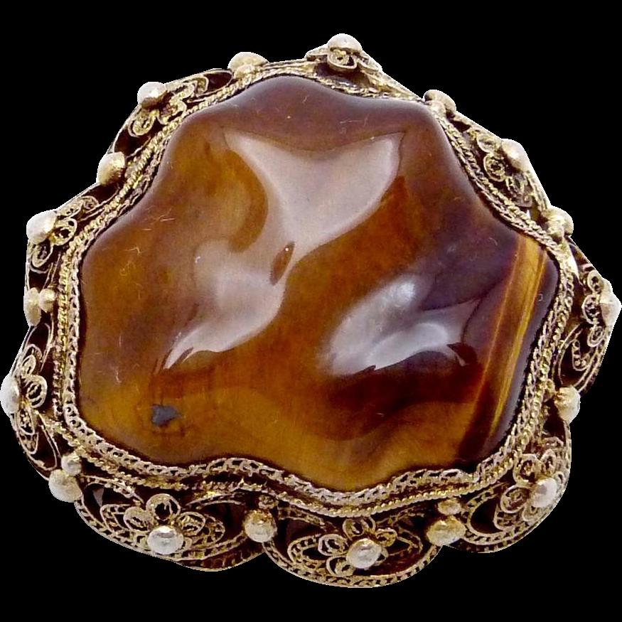 Vintage Chinese Sterling Silver Vermeil Tiger Eye Pin
