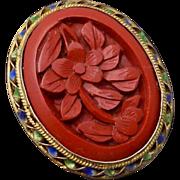 Vintage Chinese Sterling Silver Vermeil Carved Cinnabar Enamel Earrings