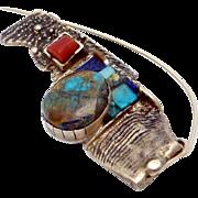 Vintage 18K Gold Turquoise Opal Coral Lapis Artisan Studio Modernist Pin