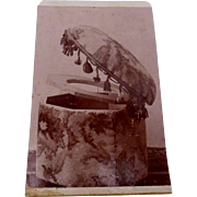 Antique 1860s CDV Photo Photograph Victorian Upholstered Commode Toilet