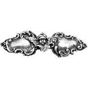 Victorian Art Nouveau Sterling Silver Cherub Angel Small Belt Buckle