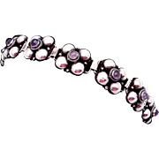 Vintage 1930s Taxco Mexican Sterling Silver Amethyst Bubble Bracelet