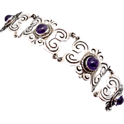 Vintage 1930s Taxco Mexican Sterling Silver Amethyst Wide Bracelet