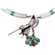 Vintage Zuni Sterling Silver Turquoise Coral MOP Onyx Hummingbird Necklace