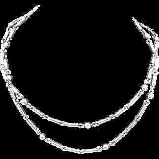 Vintage Antonio Emilia Castillo Taxco Mexican Sterling Silver Chain Necklace