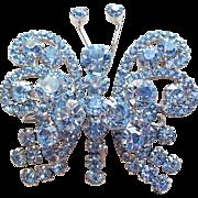 D&E Juliana Blue Rhinestone Butterfly Vintage Brooch - Fabulous Figural