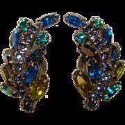 Fabulous BLUE & GREEN Rhinestone Vintage Clip Earrings