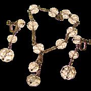 Fabulous Sterling & Faceted ROCK CRYSTAL Vintage Drop Earrings & Bracelet Set