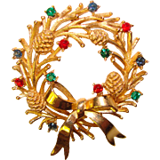 Gorgeous TRIFARI Signed Color Rhinestone WREATH Vintage Pin Brooch