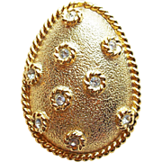 Spring or Easter Egg Rhinestone Vintage Brooch - Signed Accessocraft New York