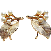 Signed Trifari Faux Pearl Leaf Vintage Earrings