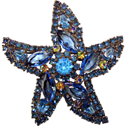 Fabulous WEISS Signed Blue Rhinestone Star Design Estate Brooch