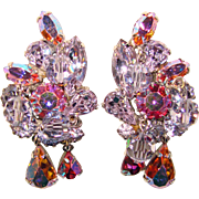 Fabulous Weiss Signed ALEXANDRITE Rhinestone & Pink Aurora Vintage Dangle Earrings